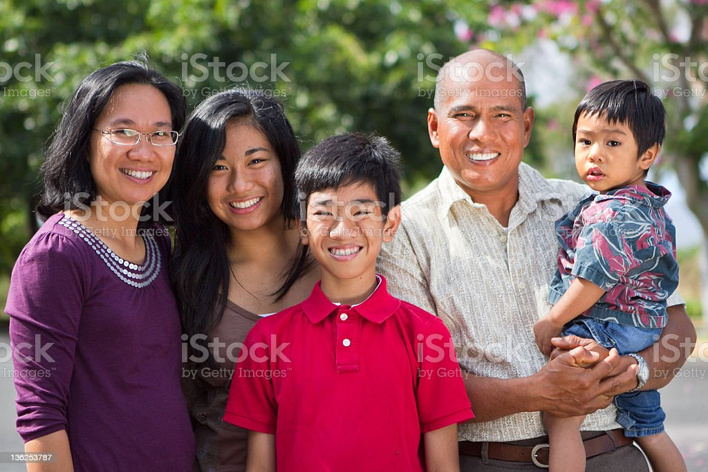 Happy Island Family stock photo