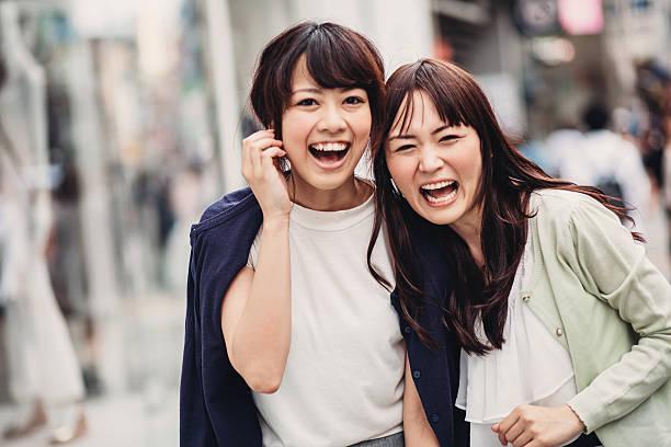 Feliz Chica japonés - foto de stock