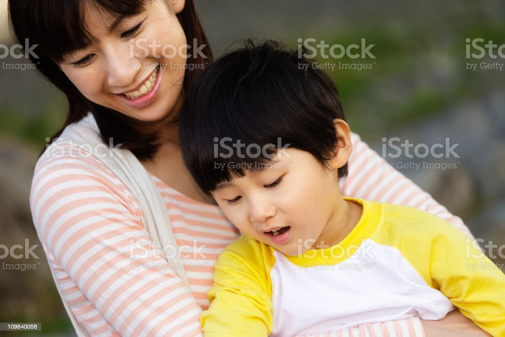 Happy Japanese Mother and Son royalty-free stock photo