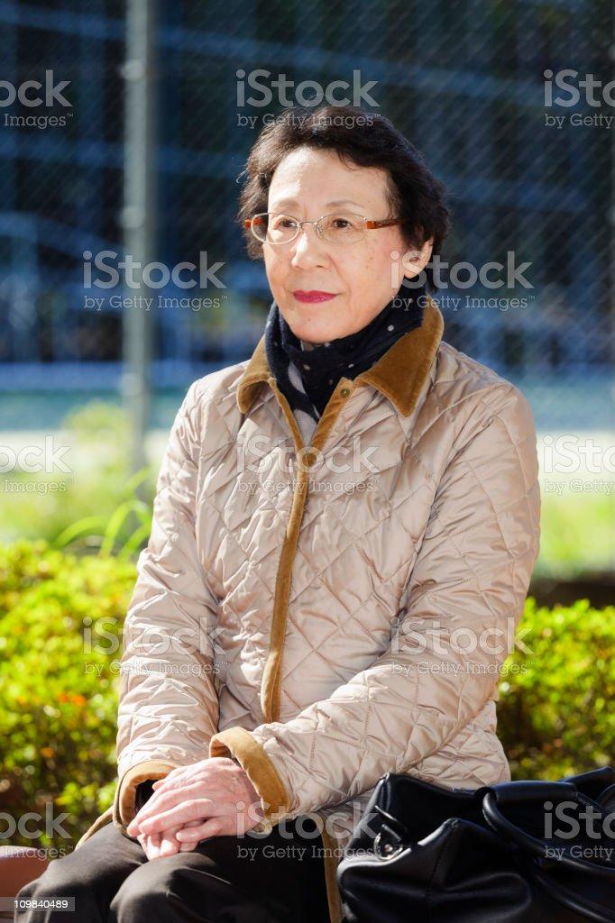 Happy Japanese Senior Citizen Woman stock photo
