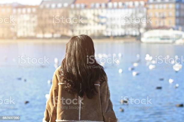 Happy japanese woman tourist, Copenhagen