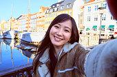 コペンハーゲンで幸せな日本女観光