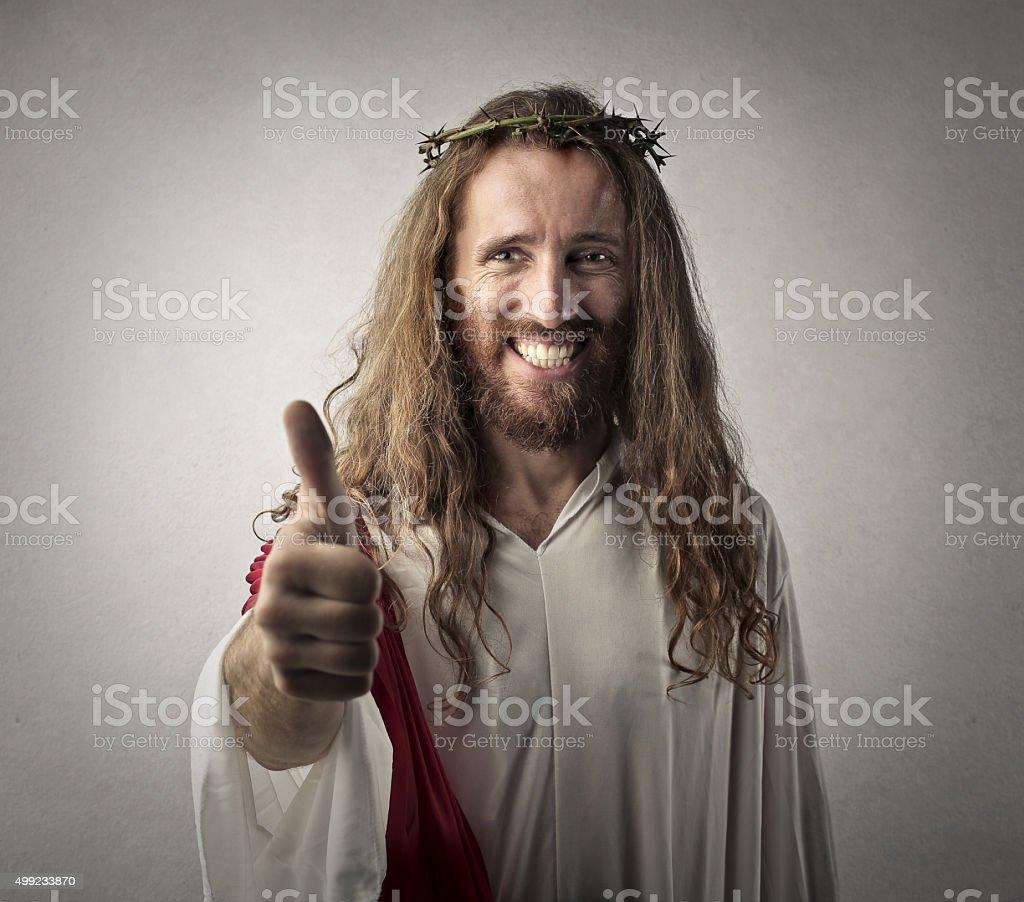 Happy Jesus stock photo