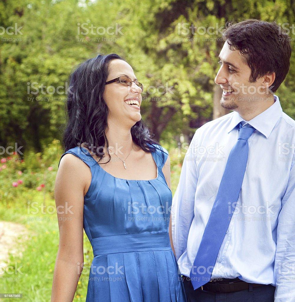 Happy joyful couple laughing outdoor royalty-free stock photo