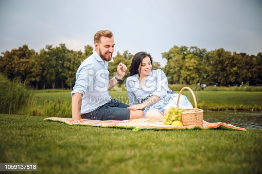 480122543 istock photo Happy joyful young family husband and his pregnant wife having fun together outdoors, at picnic in summer park, countryside. 1059137818