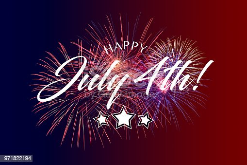 970809318 istock photo Happy July 4th Greeting with red and blue background 971822194