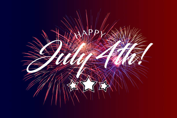 Happy July 4th Greeting with red and blue background stock photo