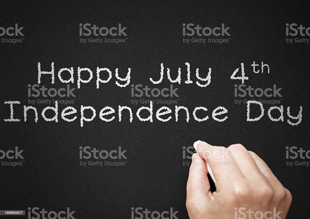 Happy july 4th on blackboard stock photo