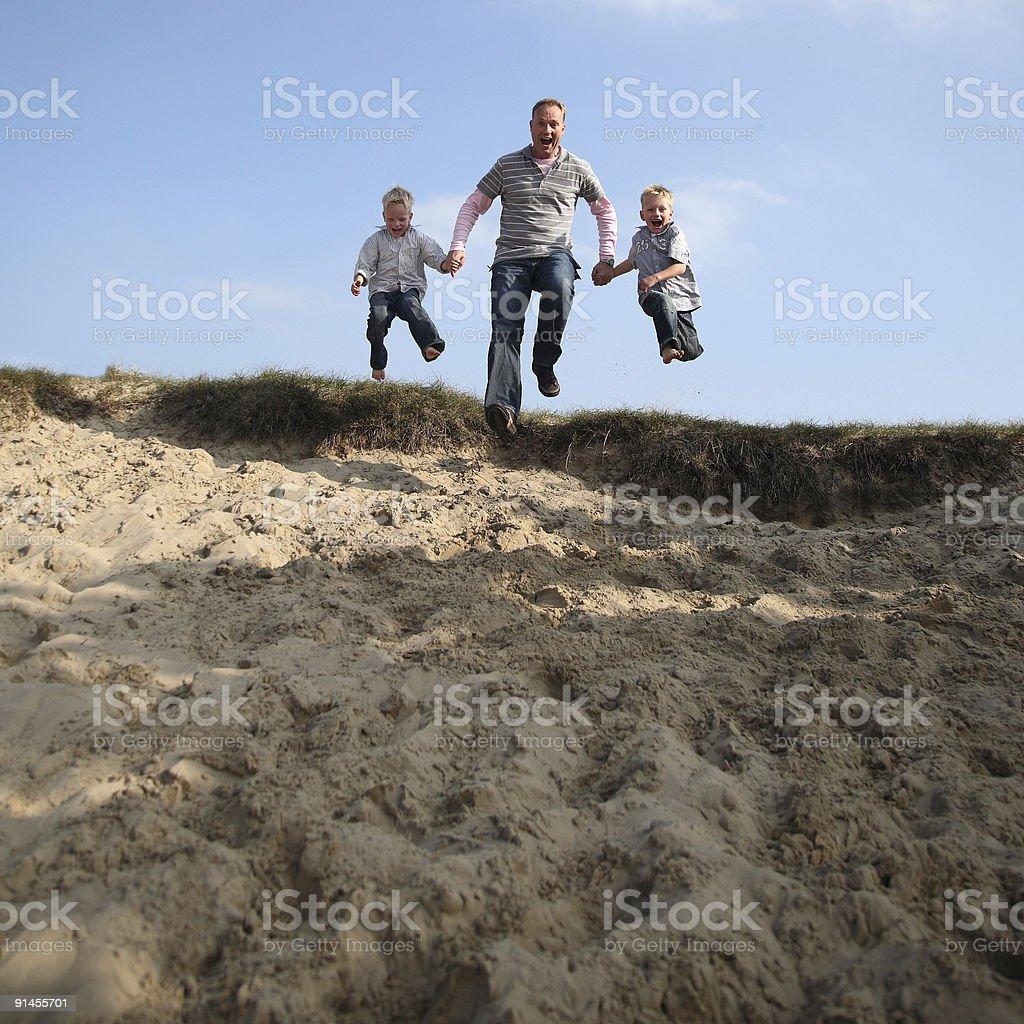 Happy Jumping Family royalty-free stock photo