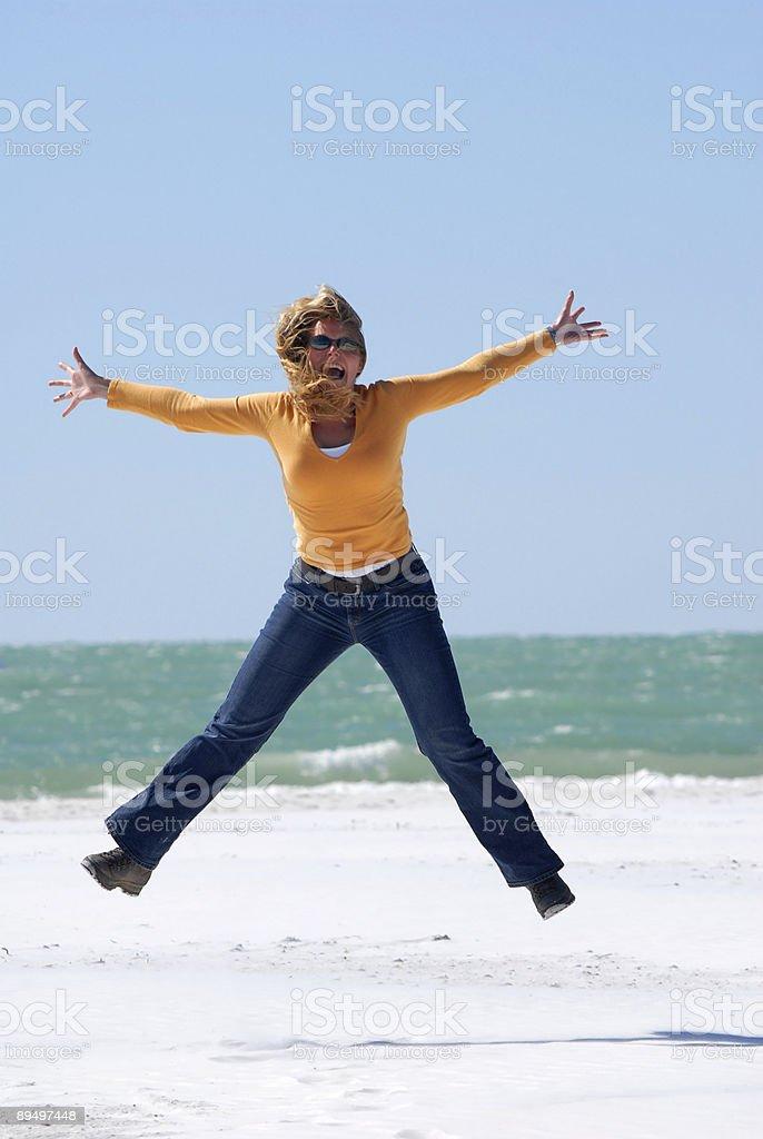 Happy jumping royaltyfri bildbanksbilder