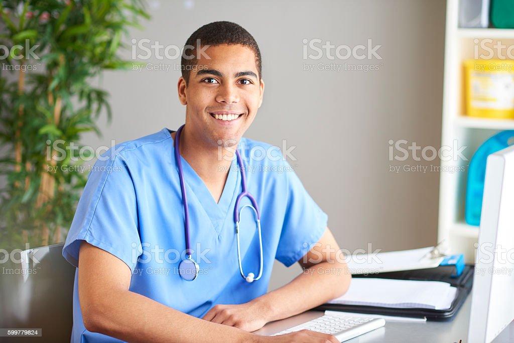 happy junior doctor stock photo