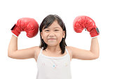 Happy kid boxing show muscle isolated on white background, Healthy and sport concept