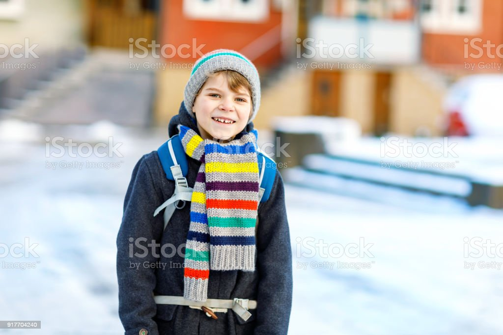 915ff3f65a01 Happy Kid Boy With Backpack Or Satchel Having Fun With Snow On Way ...