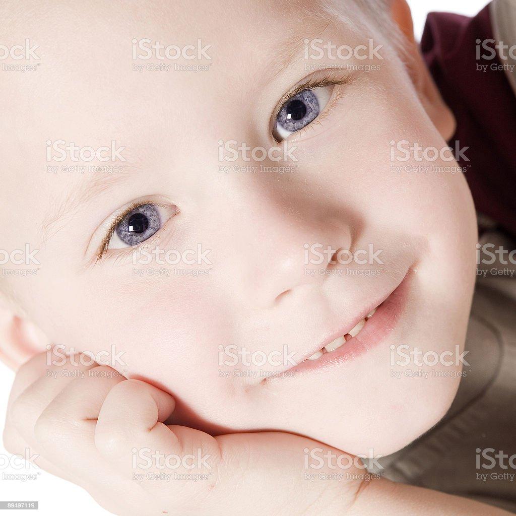 Happy kid thinking royaltyfri bildbanksbilder