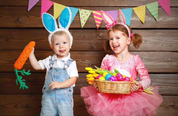Happy kids boy and girl dressed as easter bunnies with basket of eggs picture id655475034?b=1&k=6&m=655475034&s=612x612&w=0&h=b1srojo bkz6nik2j0elwv0olwevr5s63flevqimmcq=