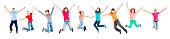 istock Happy kids jumping 670789022