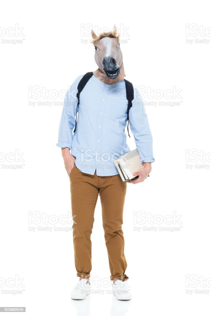 Happy Korean Male With Horse Head Mask Stock Photo Download Image Now Istock