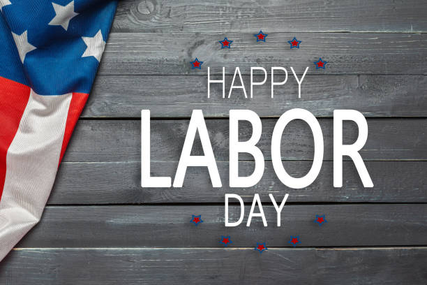Happy Labor day banner, american patriotic background stock photo