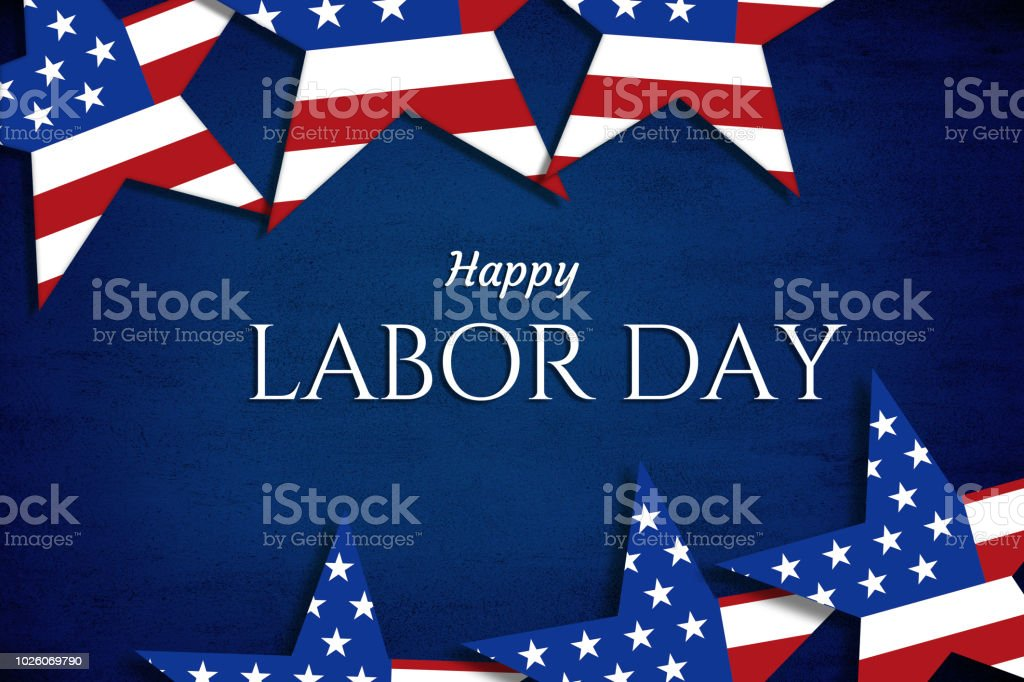 Happy Labor day blue background stock photo