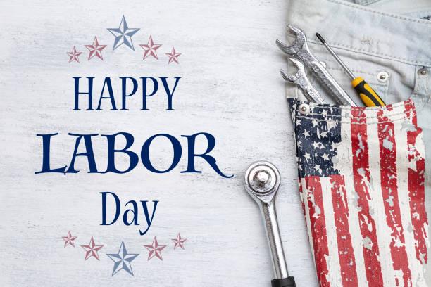 Happy Labor day card concept stock photo