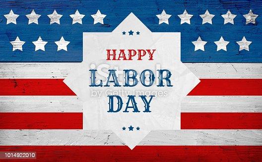 istock Happy Labor Day greeting banner, usa flag 1014922010
