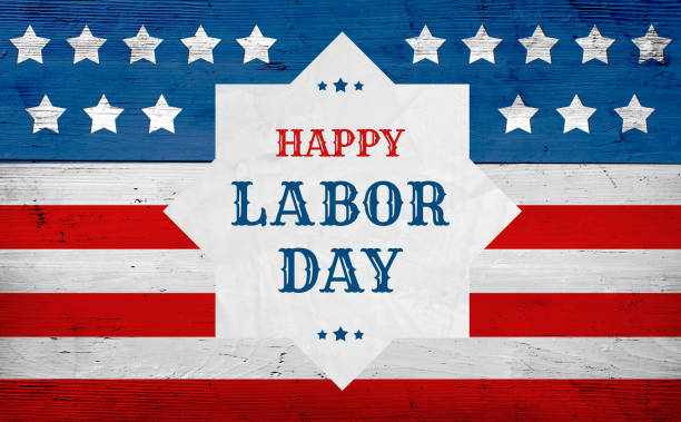 Happy Labor Day greeting banner, usa flag stock photo