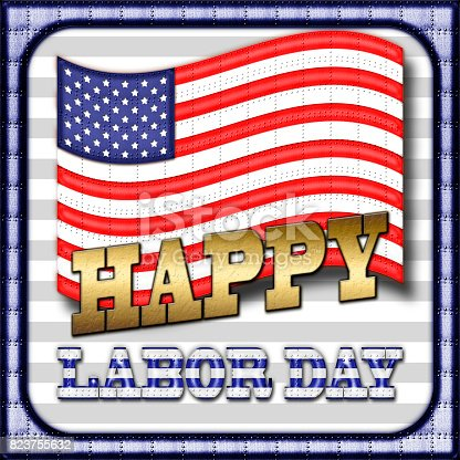 istock Happy Labor Day, Heavy Metal American Flag, Metal Text and Metal Border, in front of a white background. 823755632