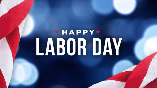happy labor day holiday typography with blue bokeh lights background and patriotic american flags - {{relatedsearchurl(carousel.phrase)}} foto e immagini stock