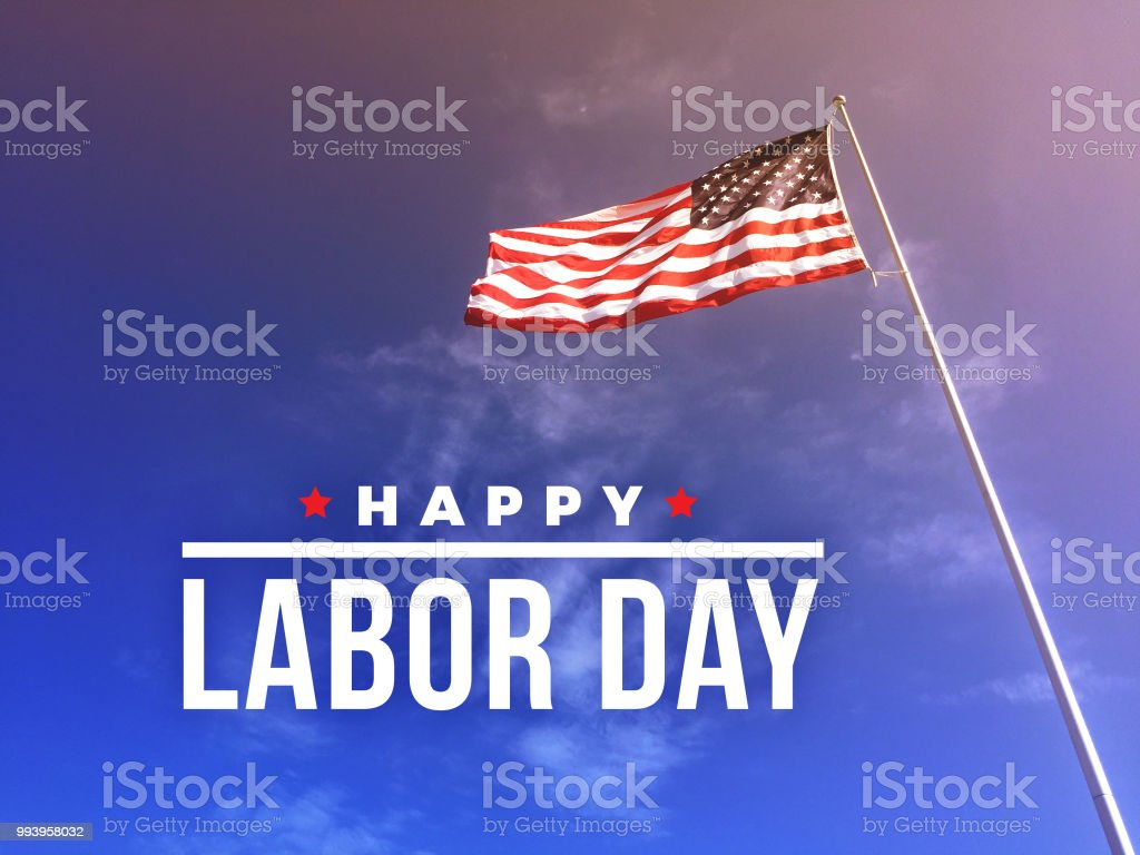 Happy Labor Day Text Over American Flag stock photo