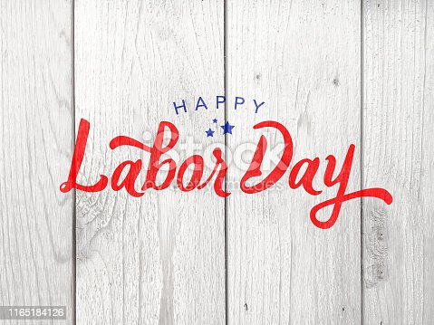 Happy Labor Day Typography Over Whitewashed Wood Texture Background