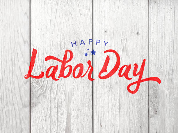 Happy Labor Day Typography Over Whitewashed Wood stock photo