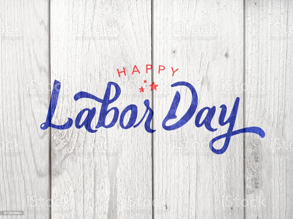 Happy Labor Day Typography Over Wood stock photo