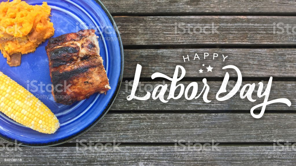 Happy Labor Day Typography with Grilled Food stock photo