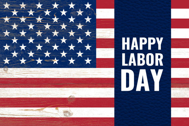 happy labor day united states holiday postcard with flag stock photo