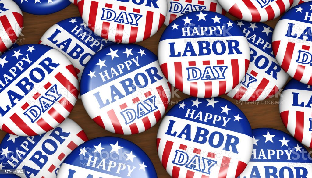 Happy Labor Day USA Badges stock photo
