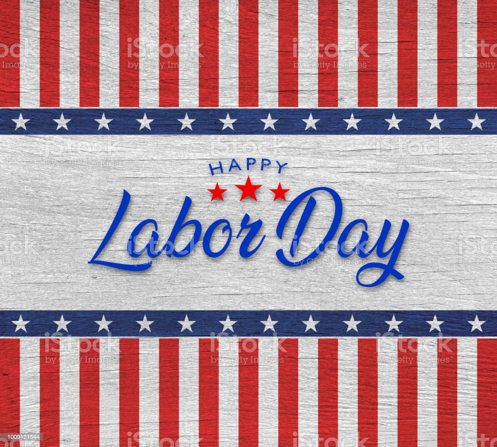 Happy Labor day wooden background stock photo