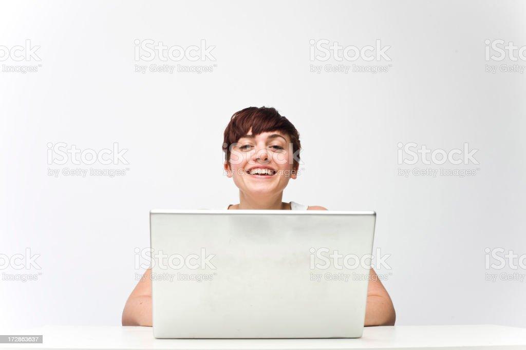 Happy Laptop Girl royalty-free stock photo