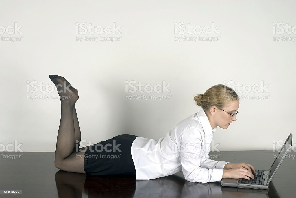 happy laptop worker royalty-free stock photo