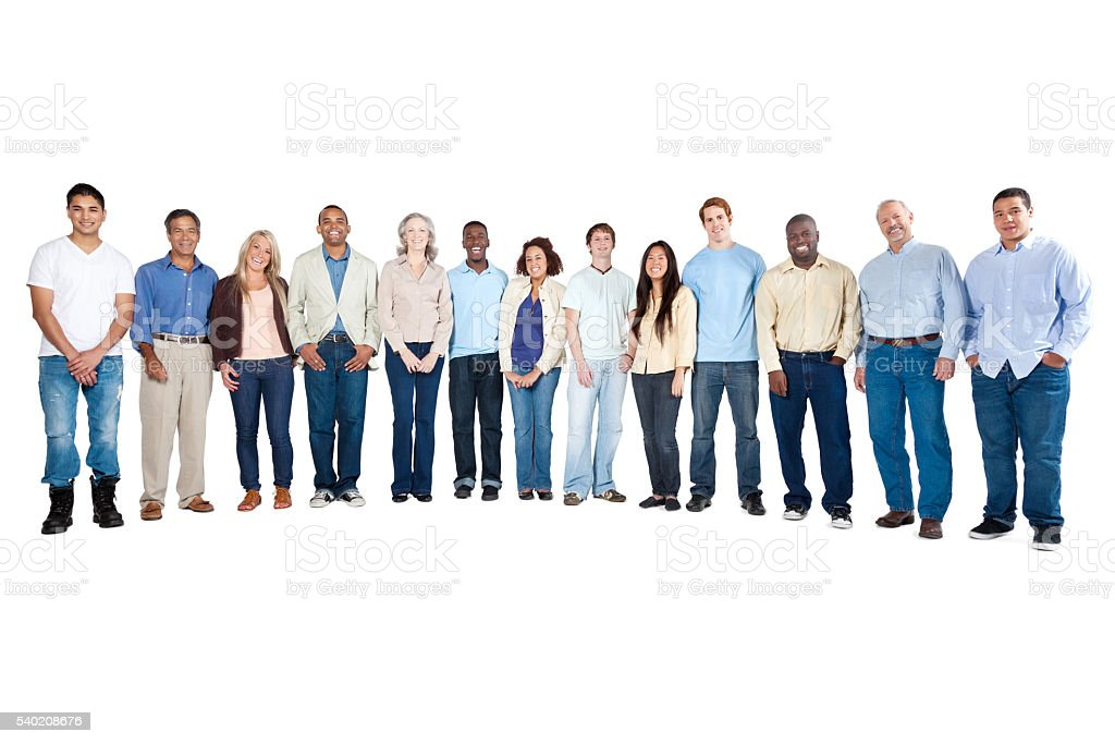 Happy large group of diverse people stock photo