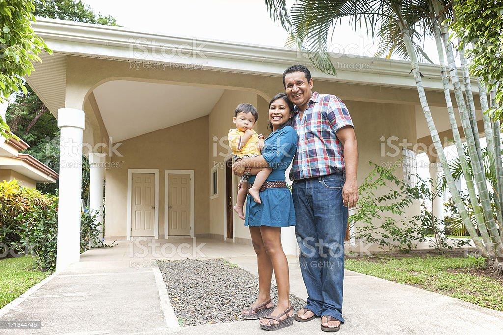 Happy Latino family stock photo