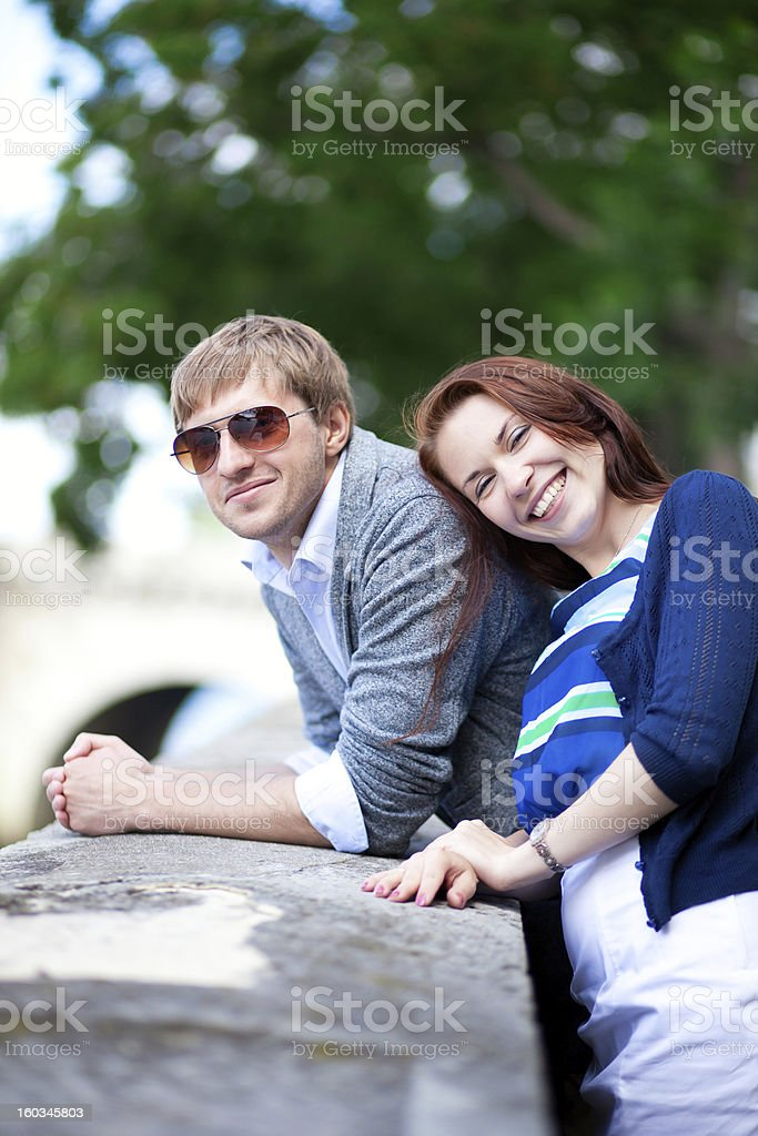 Happy laughing couple having fun outdoors royalty-free stock photo