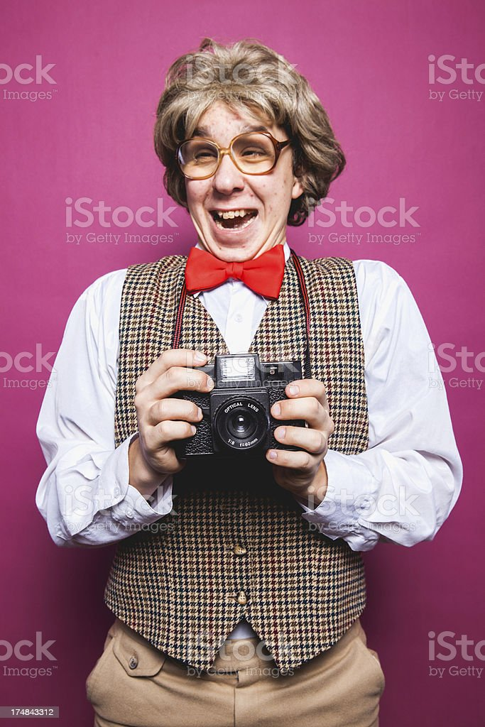 Happy Laughing Funny Nerd Photographer Young Man Portrait royalty-free stock photo