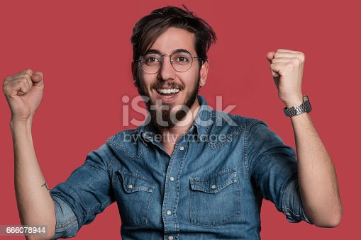 istock Happy laughing man 666078944