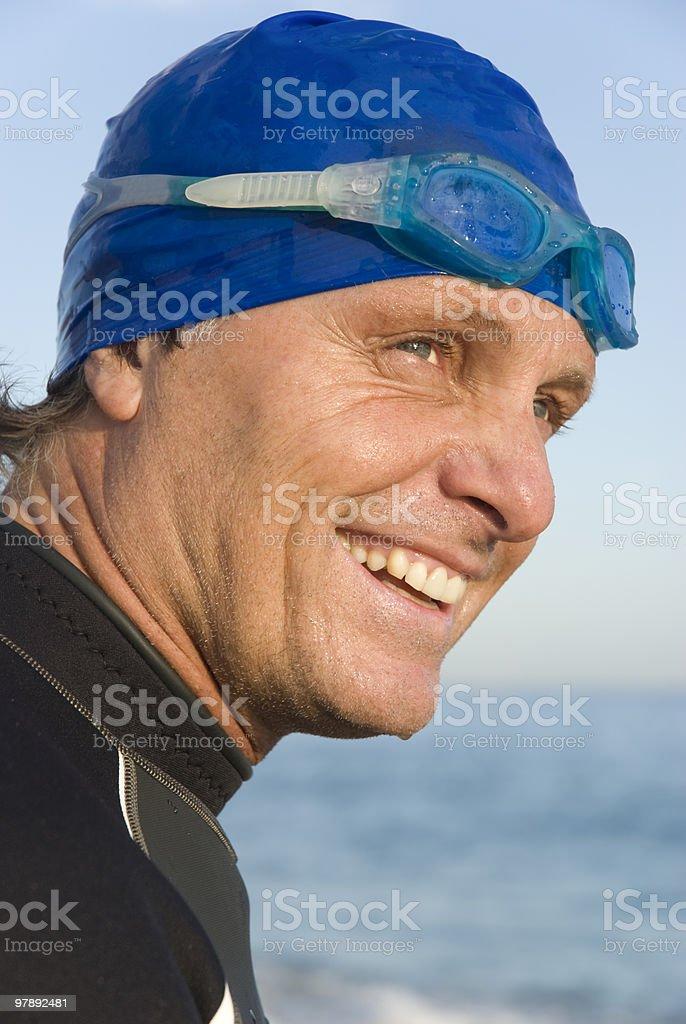 Happy laughing triathlete royalty-free stock photo