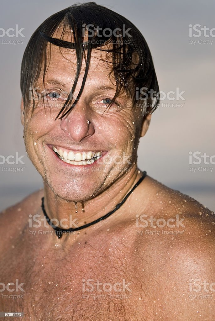 happy laughing wet man royalty-free stock photo