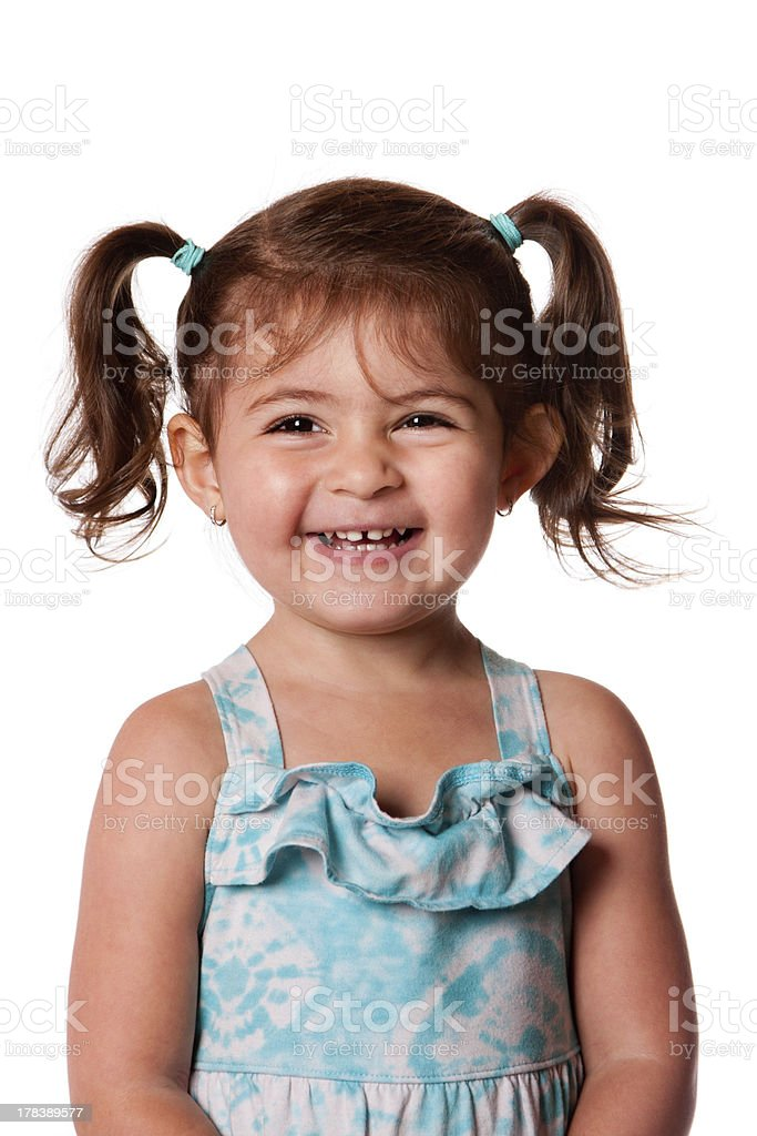 Happy laughing young toddler girl stock photo