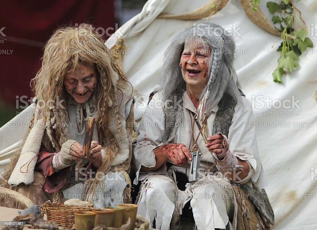 Happy leprous women stock photo