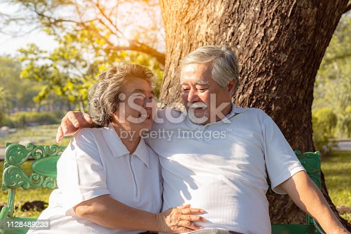 Happy life and long lived concept. Beautiful older woman feel happiness when grandma stay with beloved husband or grandfather. Charming grandparent love each other for long time. They have good health