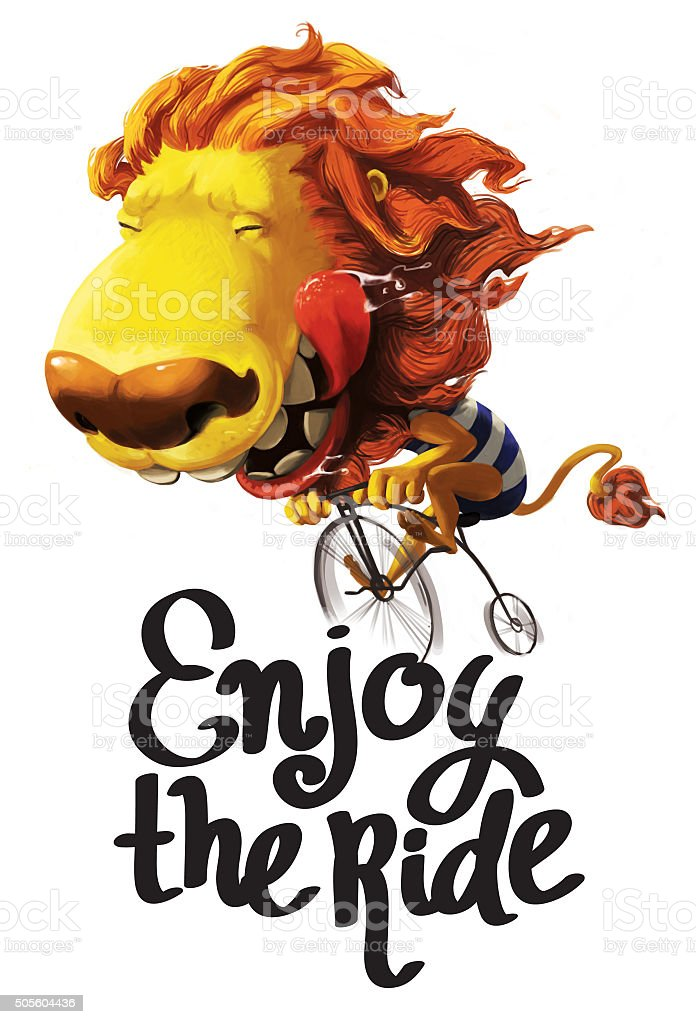 happy lion illustration stock photo