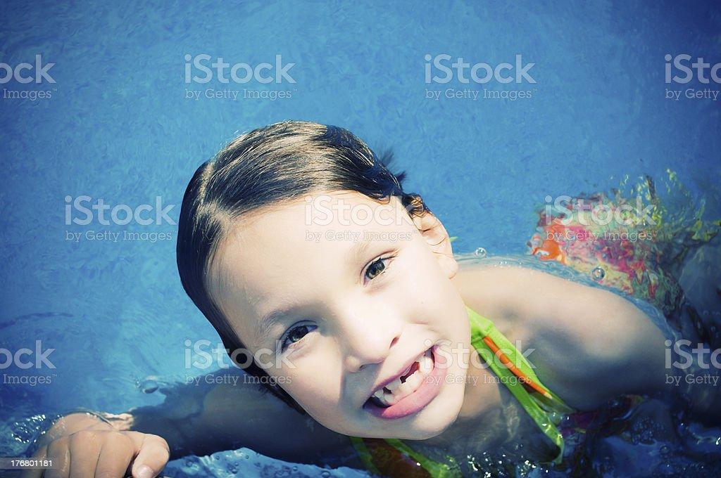 Happy Litrle Girl, Swimming Pool royalty-free stock photo